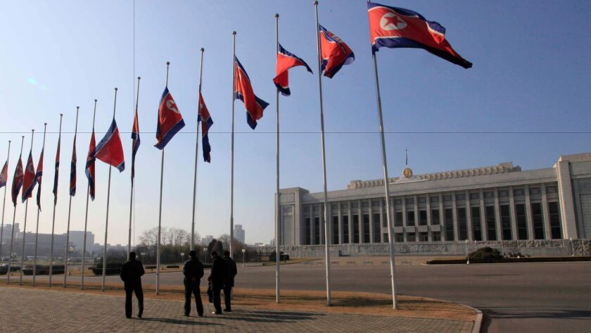 In this Nov. 29, 2016, file photo, Mansudae Assembly Hall, where North Korea's legislature, the Supr