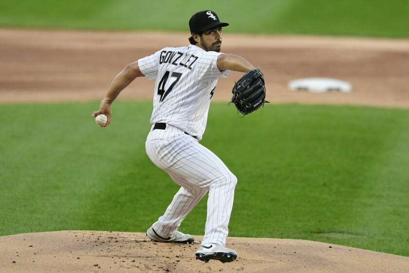 FILE - Chicago White Sox starter Gio Gonzalez delivers a pitch during the first inning of a baseball game against the Detroit Tigers in Chicago, in this Monday, Aug. 17, 2020, file photo. Veteran left-hander Gio Gonzalez agreed to terms on a minor league contract with the Miami Marlins and will take part in their major league camp.(AP Photo/Paul Beaty, File)