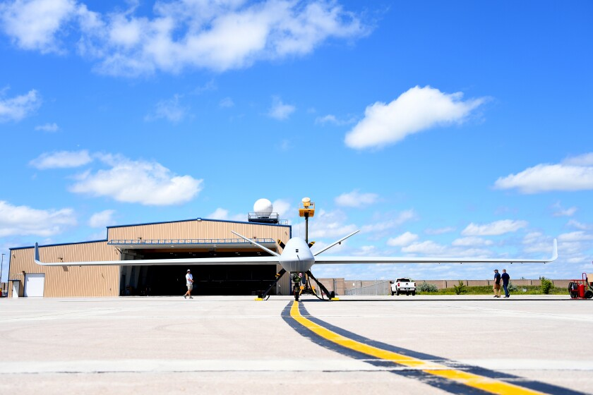 An MQ-9B SkyGuardian prepares to taxi at the Grand Forks Air Force Base in North Dakota in 2018. The SkyGuardian will conduct test flights over San Diego in 2020.