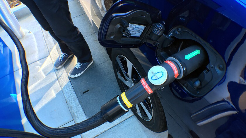 Fueling the Mirai is as simple as filling a traditional car with gasoline, and about as quick.