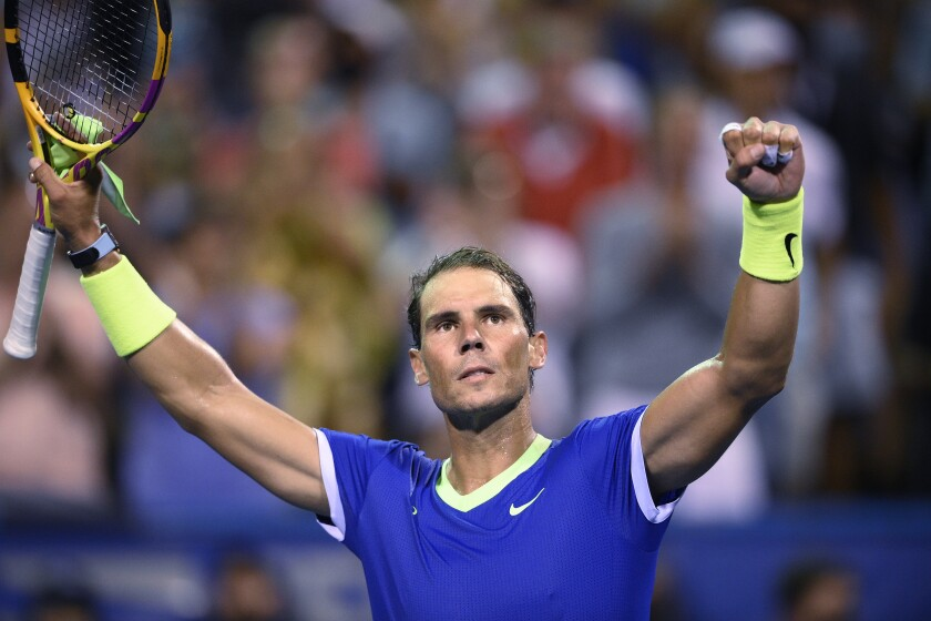Rafael Nadal, of Spain, reacts to the crowd after he defeated Jack Sock, of the United States