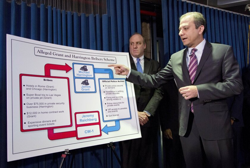 U. S. Attorney Preet Bharara points to a chart as he announces the arrest of four people in connection with New York City's ongoing corruption probe, Monday, June 20, 2016, in New York. Two high-ranking New York Police Department officials and a police sergeant who oversaw gun license applications