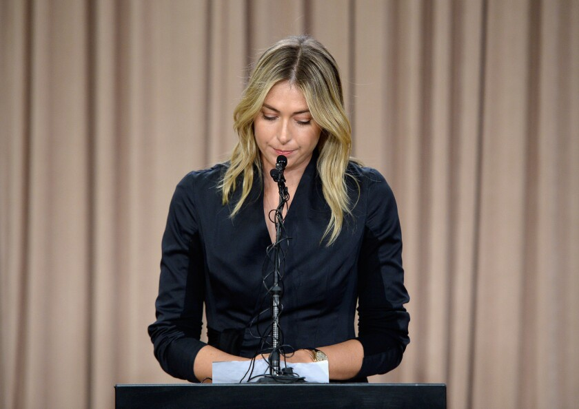 Maria Sharapova tells reporters at a Los Angeles news conference that she failed a drug test in January at the Australian Open.