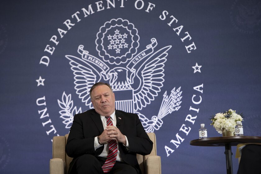 Secretary of State Mike Pompeo speaks in Philadephia in July
