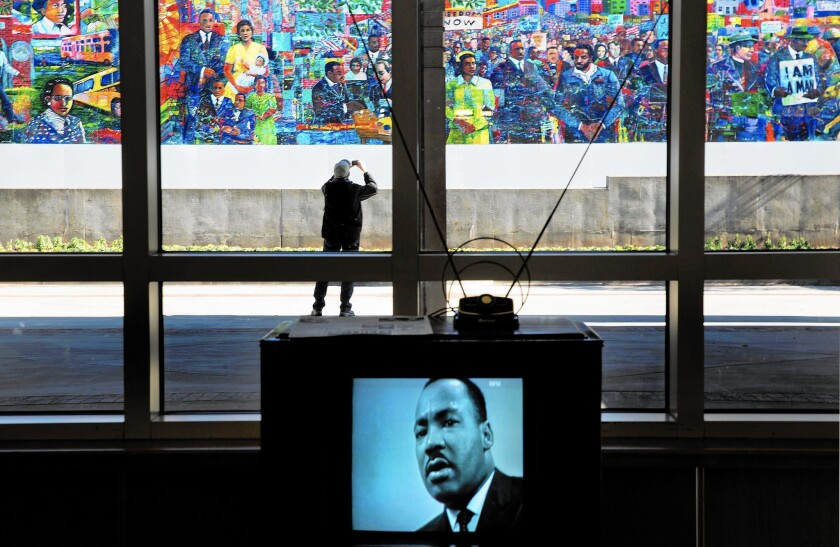 An image of the Rev. Martin Luther King Jr. is displayed on a vintage television at the King Center in Atlanta. The nonprofit center may lose its right to use King's intellectual and physical property.