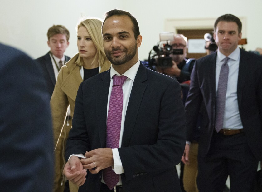 George Papadopoulos, the former Trump campaign advisor who triggered the Russia investigation, arrives before congressional investigators on Capitol Hill in Washington in October 2018.
