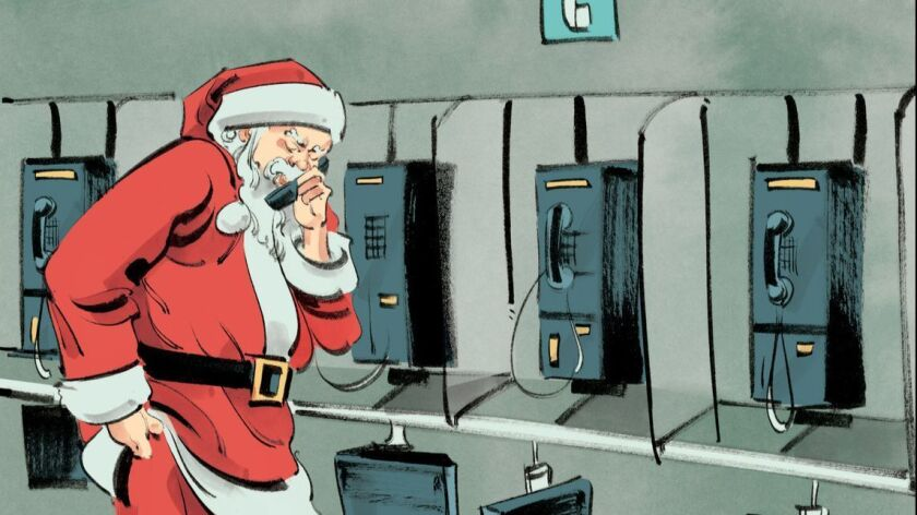 Santa on the phone for la-tr-holidays-peter-mehlman