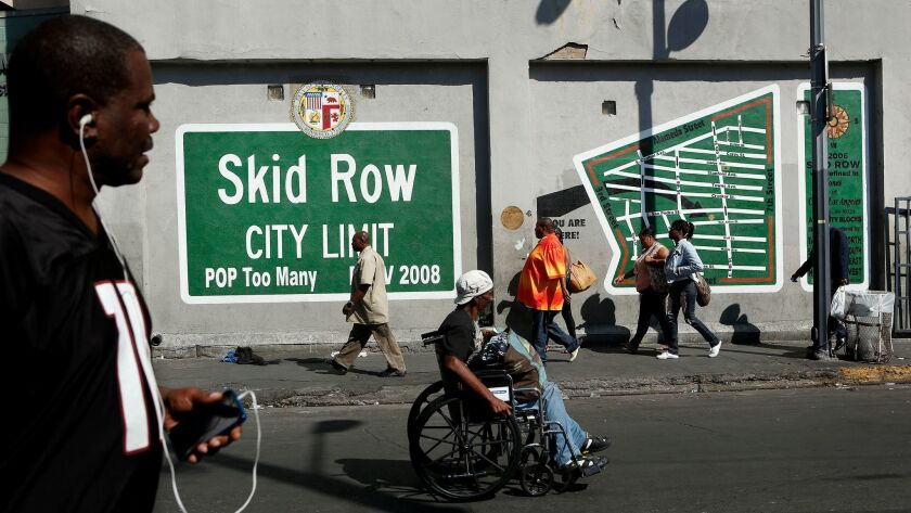 A mural in the heart of skid row in downtown Los Angeles, where a disproportionate number of residents are Black.