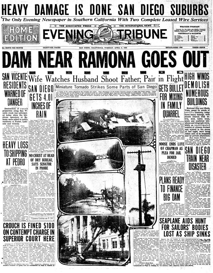 Tornadoes reported on the front page of the Evening Tribune on April 6, 1926.