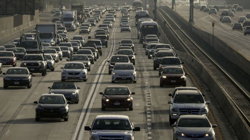Commuters face very heavy traffic on the westbound 10 Freeway. A new study found ride-sharing options are creating a new traffic problem for major U.S. cities.