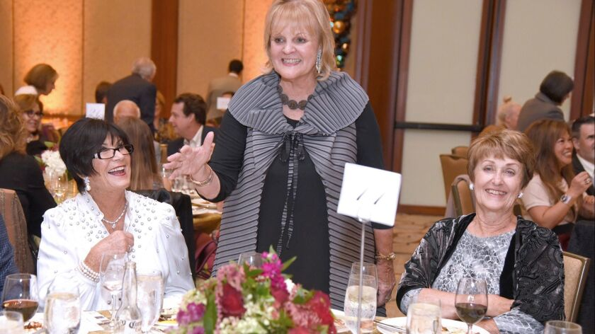 UCI MIND's honorary gala chair, Electa Anderson with donors Janet Curci and Barbara Mathew at Alzhei