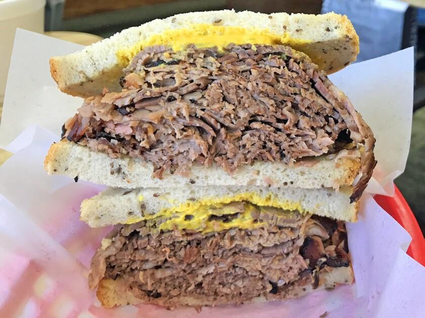 The brisket sandwich from Label's Table. (Jenn Harris / Los Angeles Times)