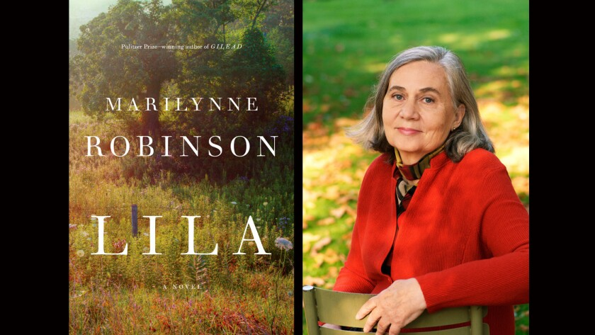 """The cover of """"Lila"""" and author Marilynne Robinson."""