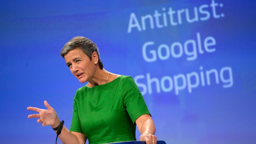 In this June 27, 2017, file photo, European Union Commissioner for Competition Margrethe Vestager speaks during a media conference at EU headquarters in Brussels.