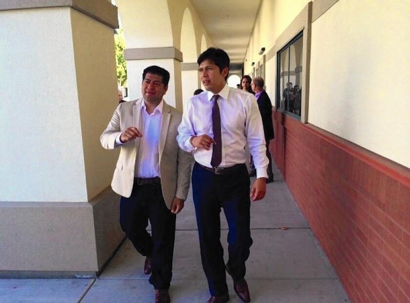 Sen. Kevin de León takes a tour of Fresno's Roosevelt High School with Luis Chavez, a Fresno school board member who is running for Senate.