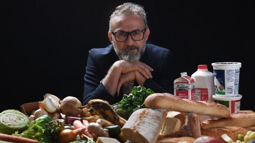 Chef and Food for Soul founder Massimo Bottura visits the Los Angeles Times Test Kitchen to discuss