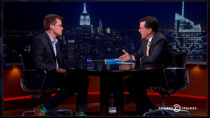"""John Green talked about young adult novels with Stephen Colbert on """"The Colbert Report."""""""
