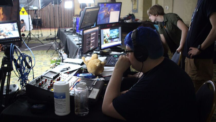 At Zeldathon Wild gamathon fundraiser, June 2017, Matthew Moffit adjusts the levels of the broadcast