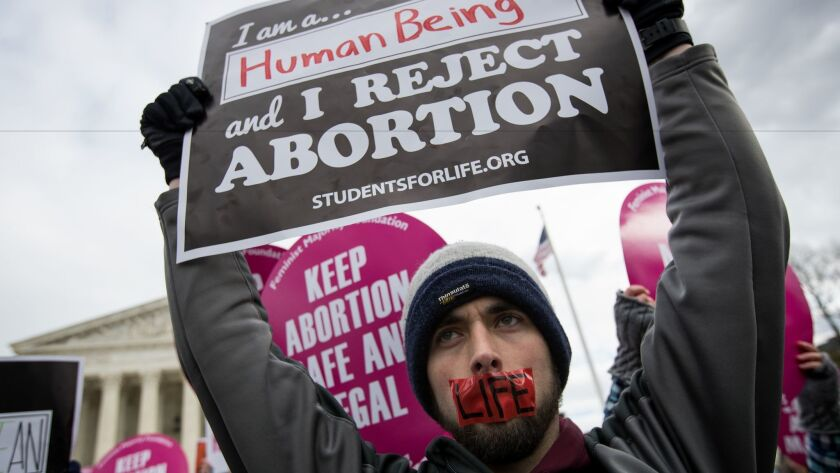 Opponents of abortion rally outside the U.S. Supreme Court during the annual March for Life in Washington on Jan. 27, 2017.