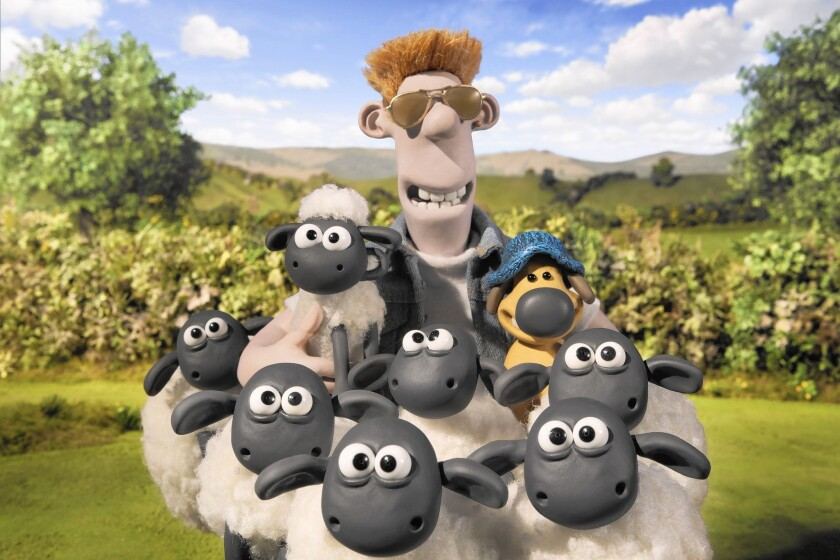 "Shaun, left, the Farmer, center, and Bitzer the dog, right, in ""Shaun the Sheep."""