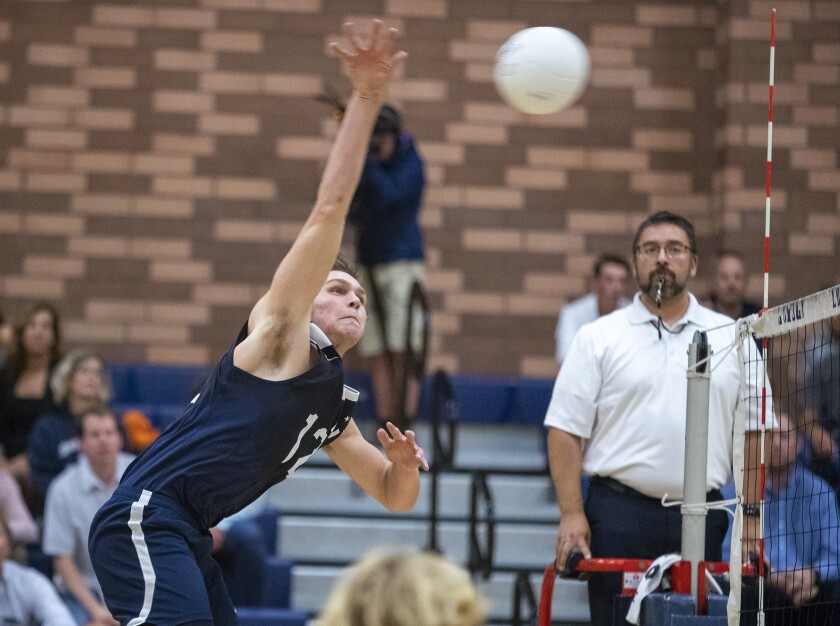 Newport Harbor's Dayne Chalmers hits during a CIF Southern Section Division 1semifinal match against