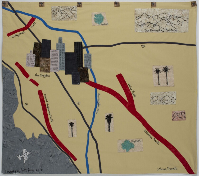 Jessie Homer French's Mapestries, hand-stitched maps of California fault lines