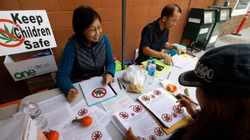 Nancy Fang, left, of San Gabriel, Zig Jiang, middle, of Hacienda Heights and Lily Chan, right, of Temple City prepare fliers to distribute against the approval of future marijuana production sites.