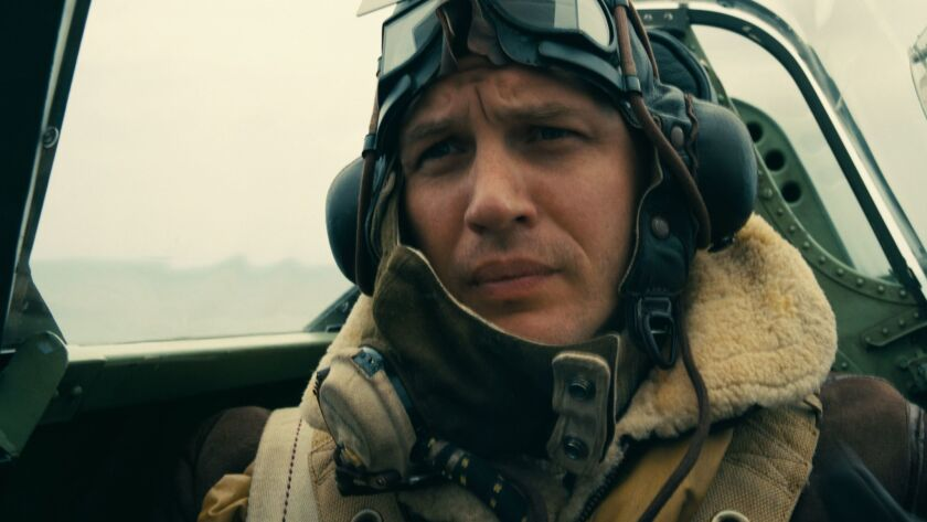 """TOM HARDY as Farrier in the film """"Dunkirk."""" Credit: Warner Bros. Pictures"""