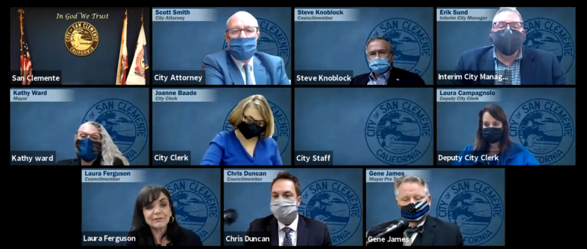 A screenshot of a San Clemente City Council meeting from last week.