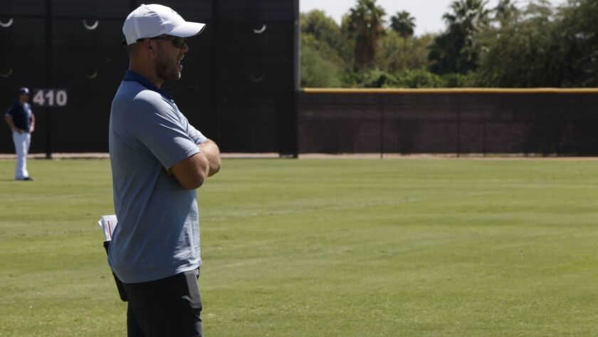 Farm Director Sam Geaney looks on during the 2016 Padres Instructional League.