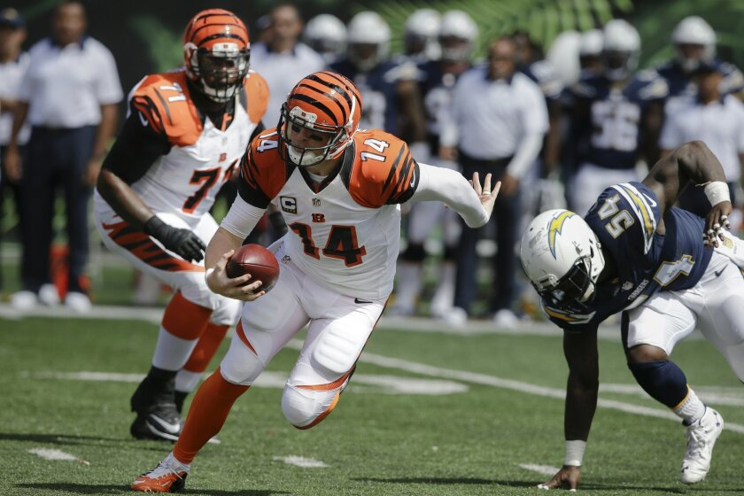 Cincinnati Bengals quarterback Andy Dalton (14) evades a sack in the first half of an NFL football game against the San Diego Chargers, Sunday, Sept. 20, 2015, in Cincinnati. (AP Photo/Darron Cummings)