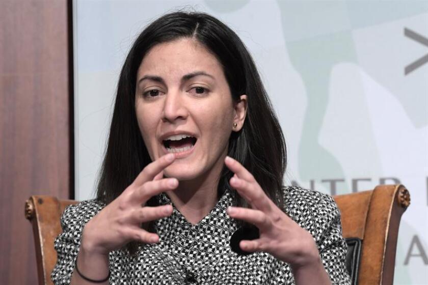 """La opositora cubana Rosa María Payá, líder de la plataforma """"Cuba Decide"""", habla durante su participación en un debate sobre Cuba, Nicaragua y Venezuela, el viernes 30 de noviembre de 2018, en el Centro de Estudios Estratégicos e Internacionales (CSIS), en Washington. EFE/Archivo"""