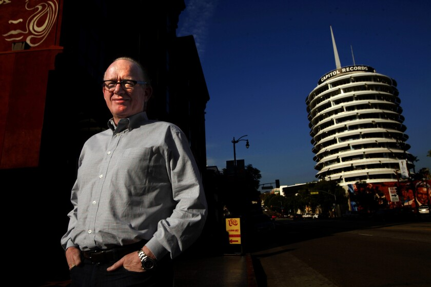 Outgoing Capitol Music Group CEO Steve Barnett in front of the iconic Capitol Records tower, 2015.