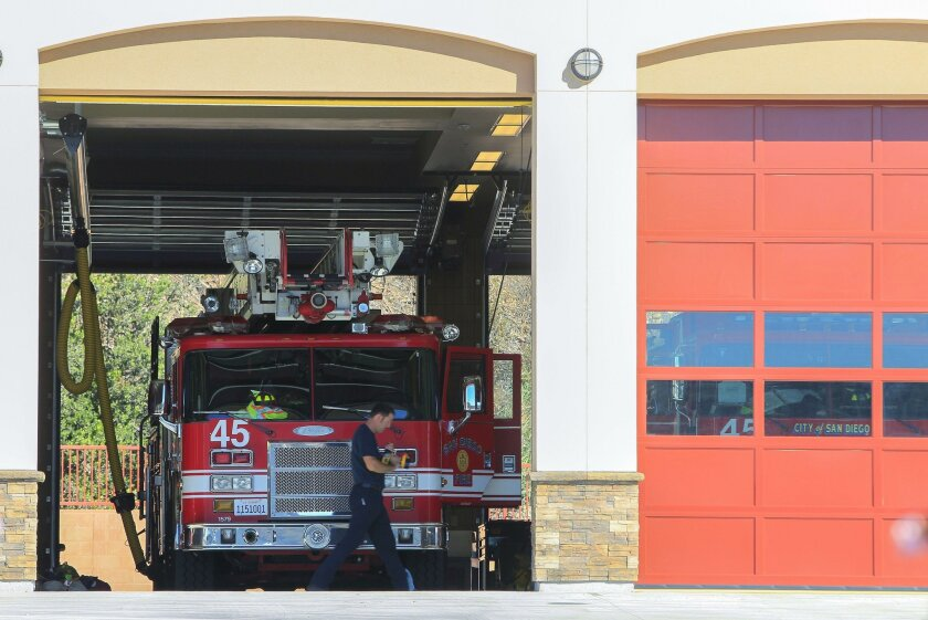 SAN DIEGO, CA-OCTOBER 30, 2015: This is the new Fire Station 45 along Friars Road (at Mission Village Drive) across from Qualcomm Stadium on Friday in San Diego, California.  | (Eduardo Contreras / San Diego Union-Tribune)
