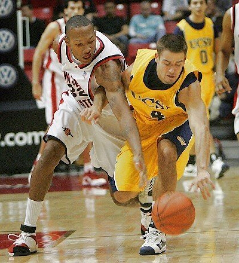 SDSU forward Billy White goes for a steal against UC Santa Barbara.