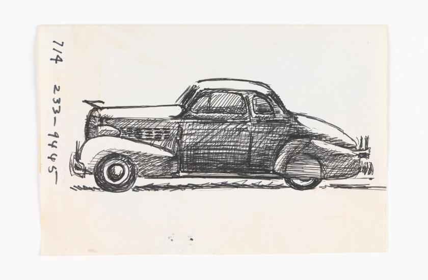 A prolific artist who left thousands of drawings upon his death in 2013, José Montoya drew architecture, friends, family, landscapes and cars — such as this classic coupe.