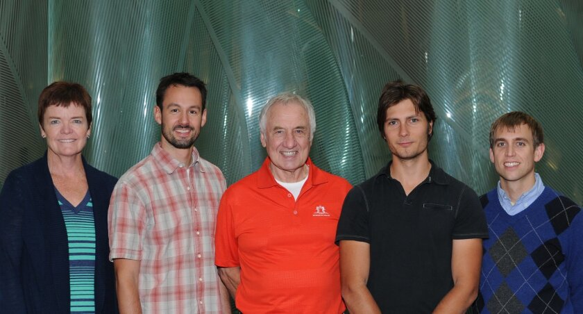 Key authors of two studies on HIV structure (from left to right) Bridget Carragher, Jean-Philippe Julien, Ian Wilson, Dmitry Lyumkis and Andrew Ward, all of The Scripps Research Institute. Photo courtesy of the Scripps Research Institute