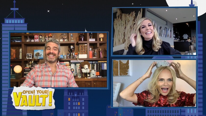 """A screen grab from """"Watch What Happens Live With Andy Cohen @ Home,"""" with Andy Cohen, Tinsley Mortimer, top right, and Kristin Chenoweth."""