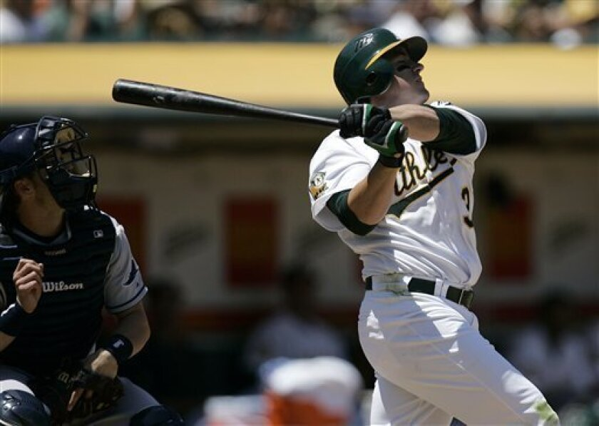 Oakland Athletics' Jack Cust swings for a two run home run off Tampa Bay Rays' Andy Sonnanstine during the fifth inning of a baseball game Wednesday, May 21, 2008, in Oakland, Calif. (AP Photo/Ben Margot)