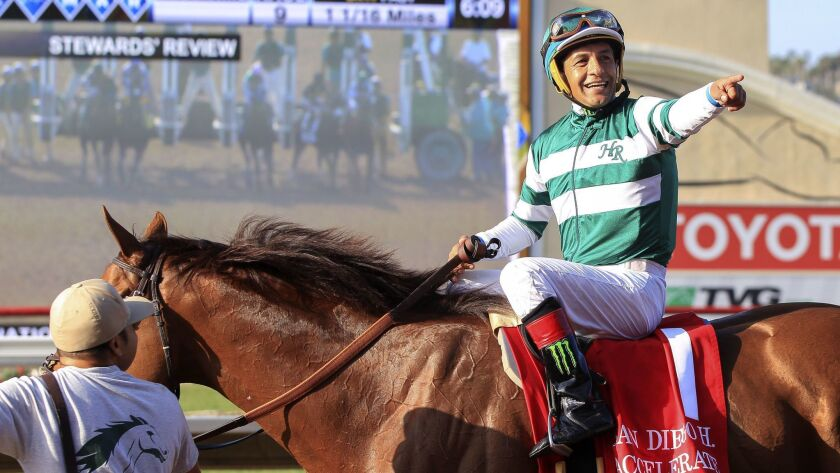 Jockey Victory Espinoza and Accelerate will be looking for their second straight San Diego Handicap victory on Saturday at Del Mar.