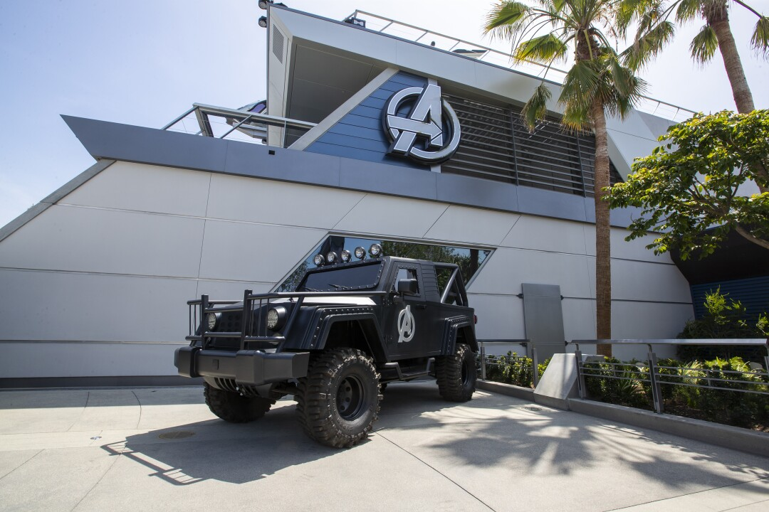 A vehicle outside Avengers headquarters