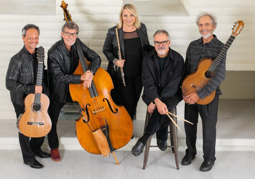 Top San Diego guitarist Peter Sprague (far right) will team Friday with Camarada flutist Beth Ross Buckley (center) and a talent-rich band for an evening of chamber music-meets-jazz. Their performance opens the three part Fusion concert series, curated by Buckley and fellow flutist Holly Hofmann, at the La Jolla Athenaeum.