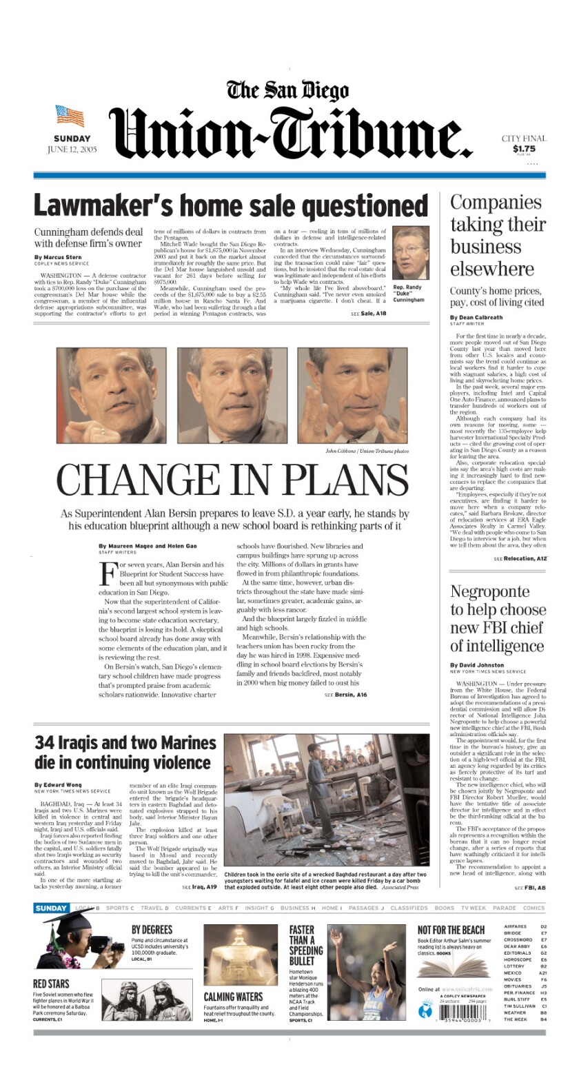 A-1 Front Page of The San Diego Union-Tribune for June 12, 2005 (6/12/2005)