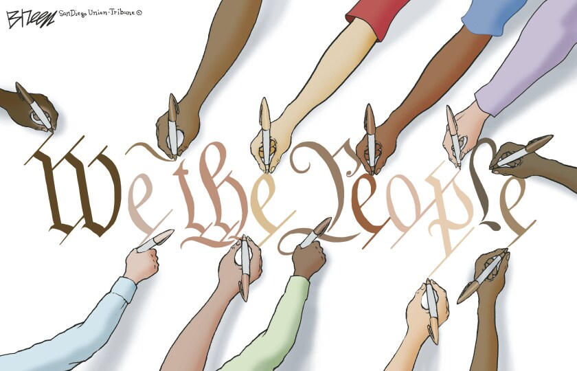 Diverse hands write out the letters of 'We the People' each in a different flesh tone