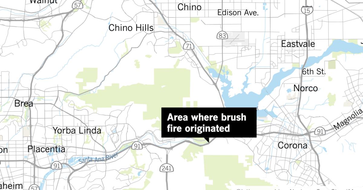Brush fire sparks near Corona, prompts evacuations in Yorba Linda