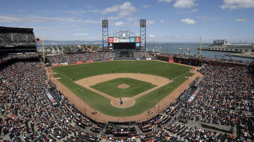 FILE - This June 15, 2016, file photo shows AT&T Park from an overhead view as the San Francisco Gia