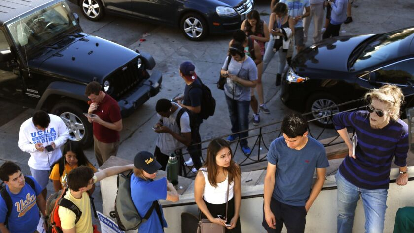 LOS ANGELES, CA - NOVEMBER 5, 2016 - UCLA students and residents wait in line to cast their votes
