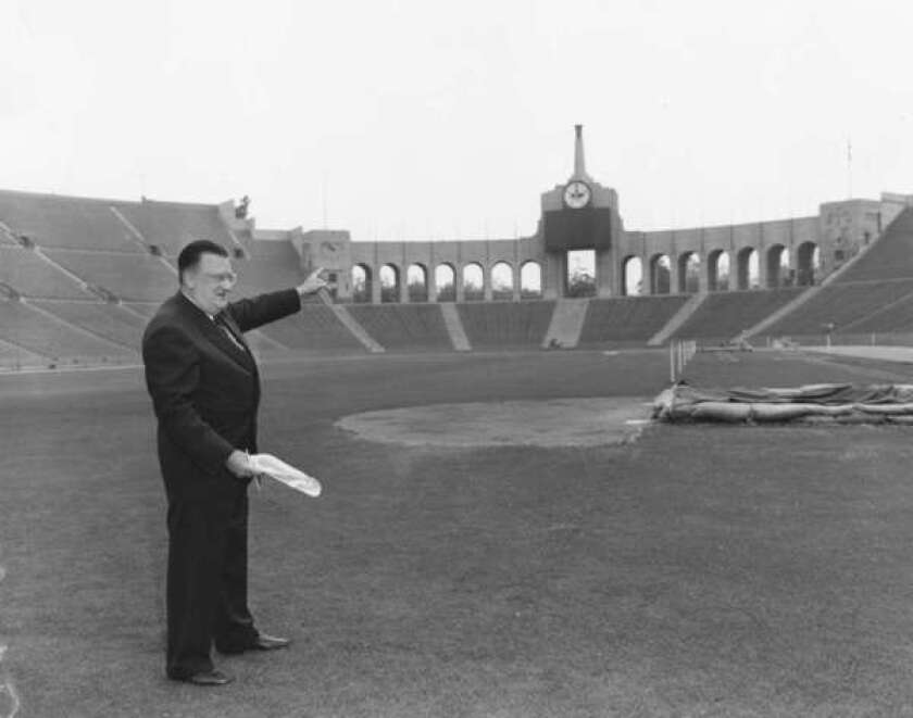 Walter O'Malley made the decision to move the Dodgers from Brooklyn to L.A. in time for the 1958 season. He did not have a stadium ready for the Dodgers, so he rented the Coliseum for $200,000 a year for 1958 and 1959, plus 10% of the ticket revenue. They moved to Dodger Stadium in 1962, and the rest, as they say, is history.