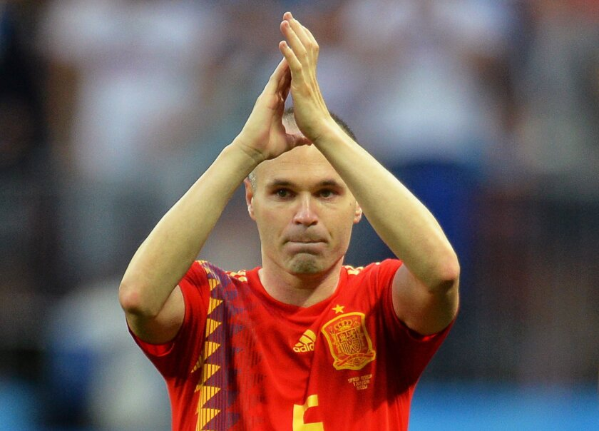 Andres Iniesta of Spain applauds fans after the penalty shootout of the FIFA World Cup 2018 round of 16 soccer match between Spain and Russia in Moscow, Russia, 01 July 2018.