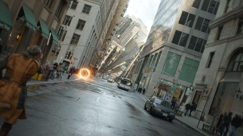 "Kaecilius (Mads Mikkelsen) during the chase scene through the Mirror Dimension in Marvel's ""Doctor Strange."""